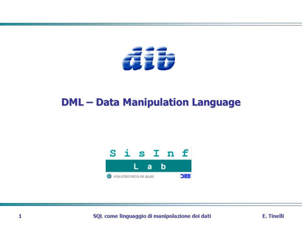 E. Tinelli SQL come linguaggio di manipolazione dei dati 1 DML – Data Manipulation Language