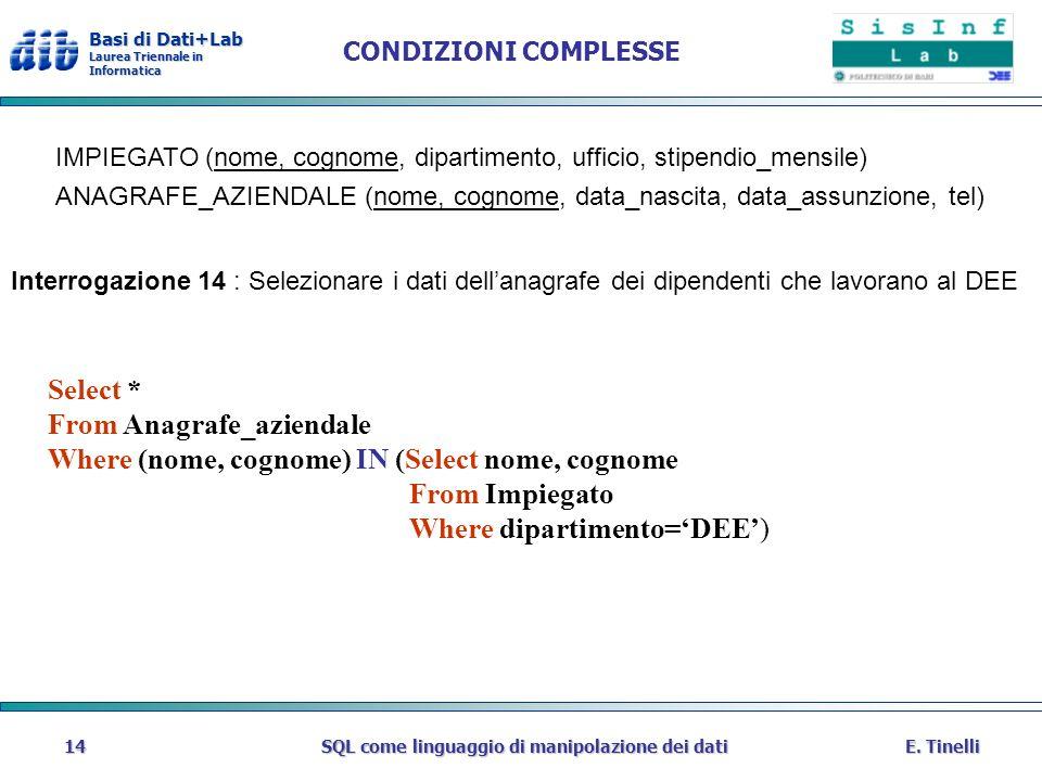 Basi di Dati+Lab Laurea Triennale in Informatica E. TinelliSQL come linguaggio di manipolazione dei dati14 CONDIZIONI COMPLESSE IMPIEGATO (nome, cogno