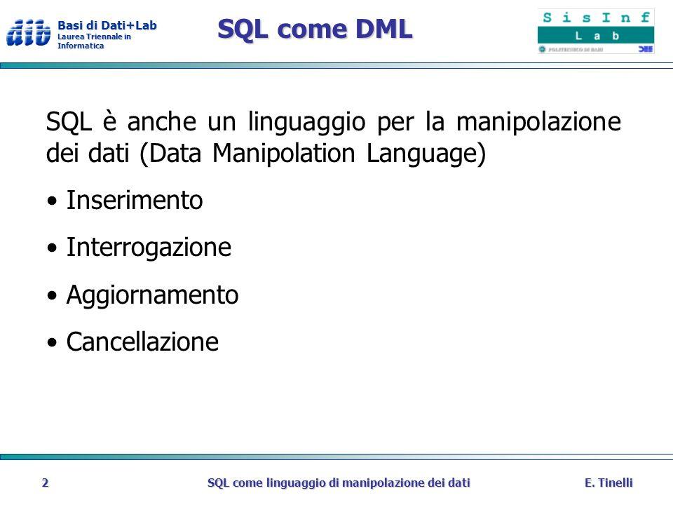 Basi di Dati+Lab Laurea Triennale in Informatica E.