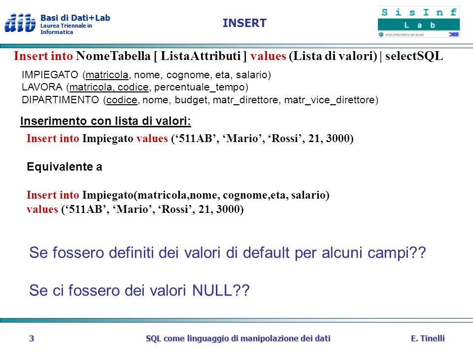 Basi di Dati+Lab Laurea Triennale in Informatica E. TinelliSQL come linguaggio di manipolazione dei dati3 INSERT Insert into NomeTabella [ ListaAttrib