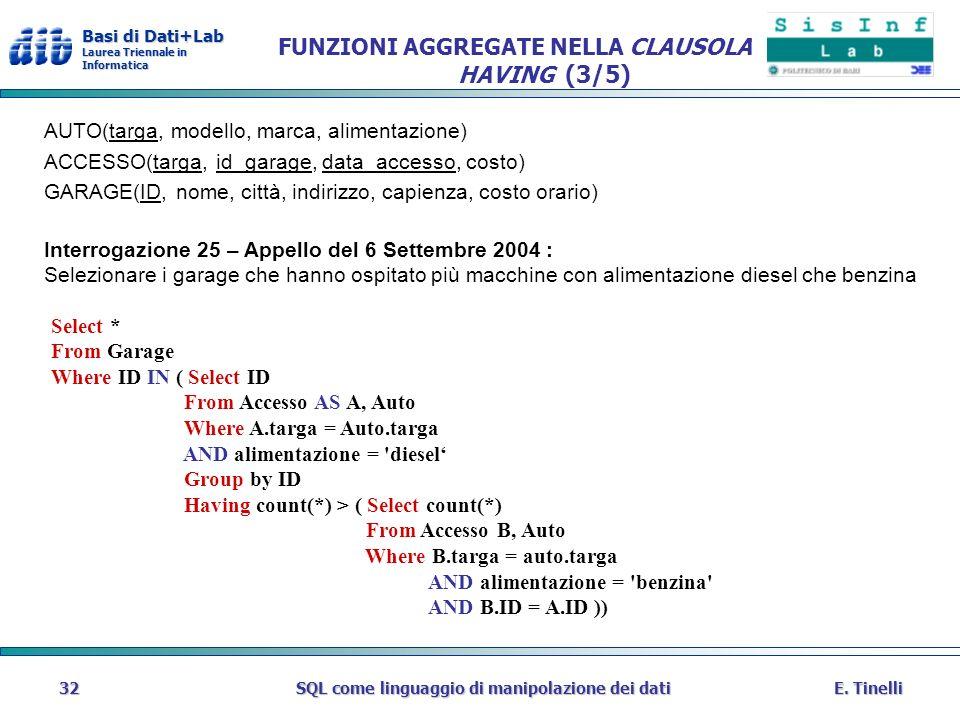 Basi di Dati+Lab Laurea Triennale in Informatica E. TinelliSQL come linguaggio di manipolazione dei dati32 FUNZIONI AGGREGATE NELLA CLAUSOLA HAVING (3