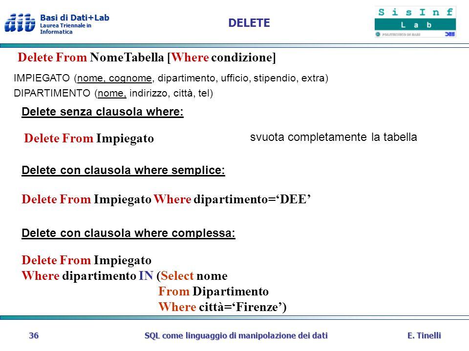 Basi di Dati+Lab Laurea Triennale in Informatica E. TinelliSQL come linguaggio di manipolazione dei dati36 DELETE Delete con clausola where semplice: