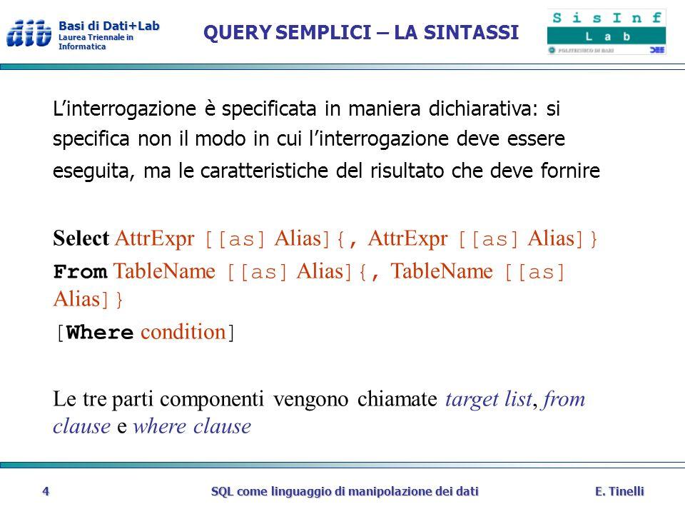 Basi di Dati+Lab Laurea Triennale in Informatica E. TinelliSQL come linguaggio di manipolazione dei dati4 QUERY SEMPLICI – LA SINTASSI Linterrogazione