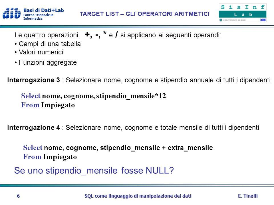 Basi di Dati+Lab Laurea Triennale in Informatica E. TinelliSQL come linguaggio di manipolazione dei dati6 TARGET LIST – GLI OPERATORI ARITMETICI Selec