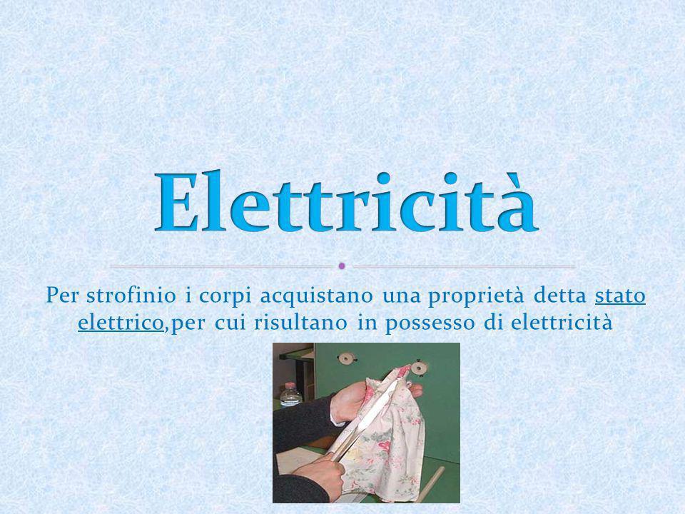 Per strofinio i corpi acquistano una proprietà detta stato elettrico,per cui risultano in possesso di elettricità