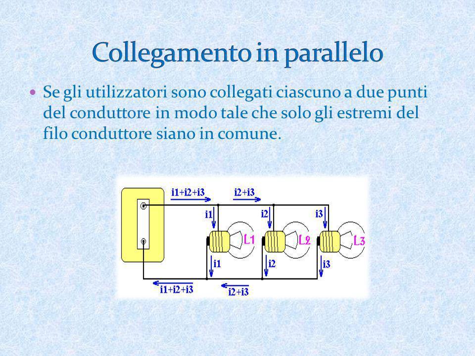 Se gli utilizzatori sono collegati ciascuno a due punti del conduttore in modo tale che solo gli estremi del filo conduttore siano in comune.