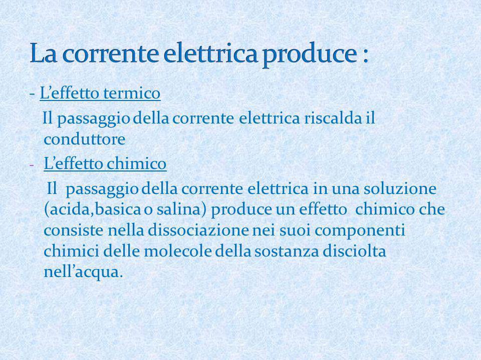 - Leffetto termico Il passaggio della corrente elettrica riscalda il conduttore - Leffetto chimico Il passaggio della corrente elettrica in una soluzi
