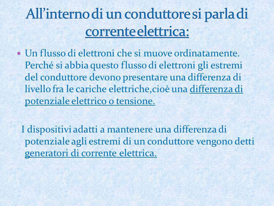 Un flusso di elettroni che si muove ordinatamente. Perché si abbia questo flusso di elettroni gli estremi del conduttore devono presentare una differe