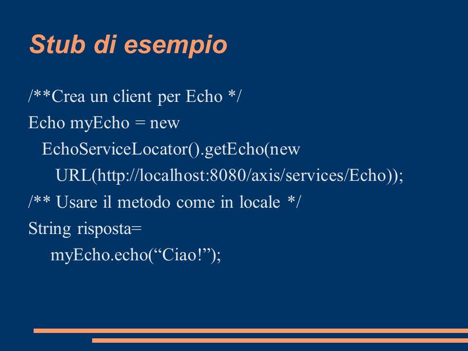 Stub di esempio /**Crea un client per Echo */ Echo myEcho = new EchoServiceLocator().getEcho(new URL(http://localhost:8080/axis/services/Echo)); /** U