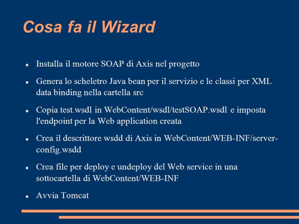 Cosa fa il Wizard Installa il motore SOAP di Axis nel progetto Genera lo scheletro Java bean per il servizio e le classi per XML data binding nella ca