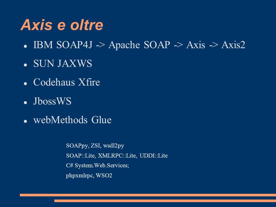 Axis e oltre IBM SOAP4J -> Apache SOAP -> Axis -> Axis2 SUN JAXWS Codehaus Xfire JbossWS webMethods Glue SOAPpy, ZSI, wsdl2py SOAP::Lite, XMLRPC::Lite