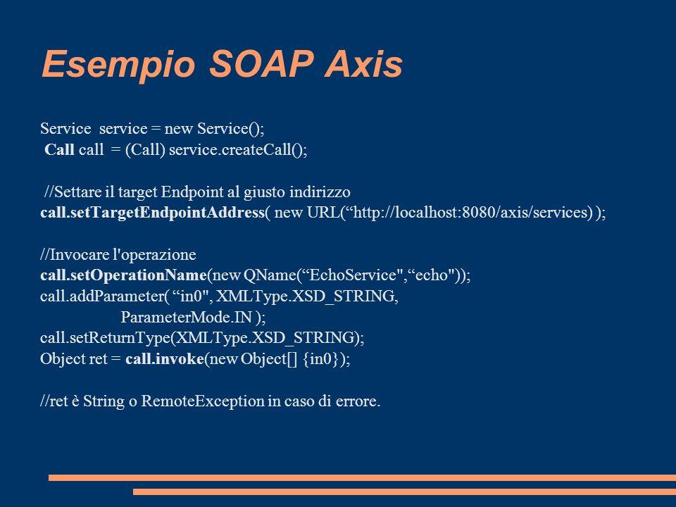Esempio SOAP Axis Service service = new Service(); Call call = (Call) service.createCall(); //Settare il target Endpoint al giusto indirizzo call.setT