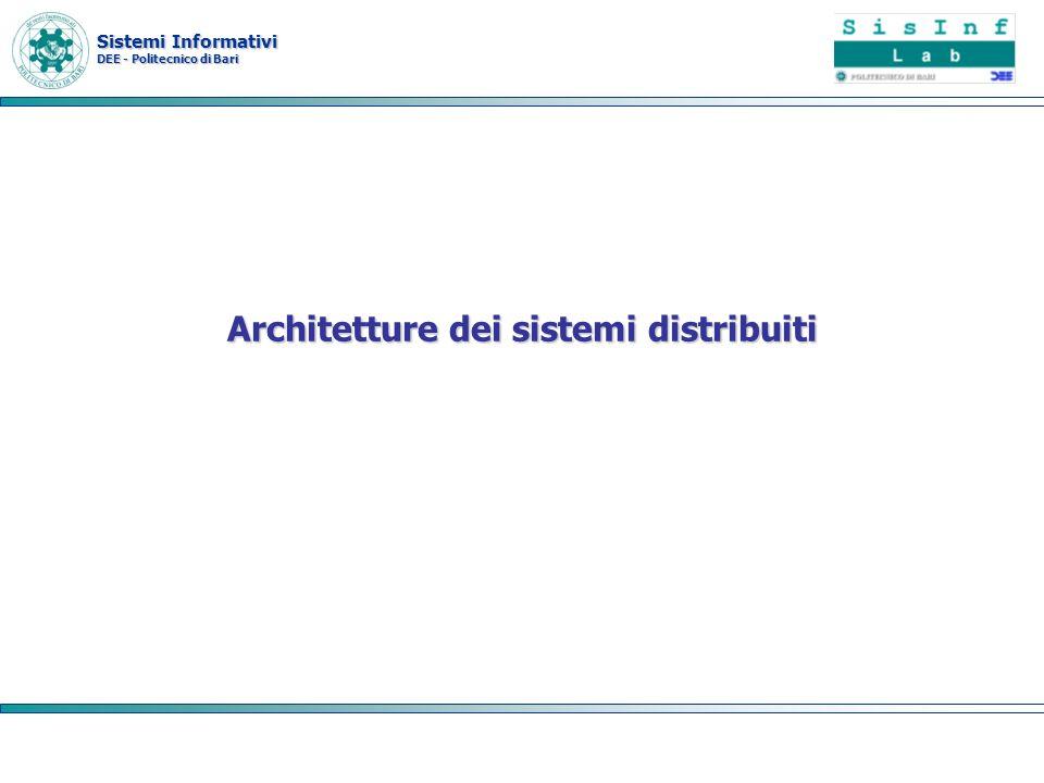 Sistemi Informativi DEE - Politecnico di Bari Architetture client server A due livelli –Thin-client –Fat-client A tre livelli A livelli multipli