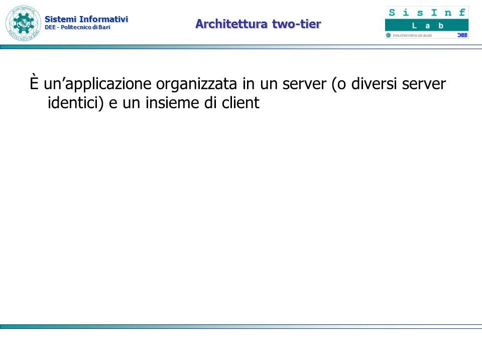 Sistemi Informativi DEE - Politecnico di Bari Architettura two-tier È unapplicazione organizzata in un server (o diversi server identici) e un insieme