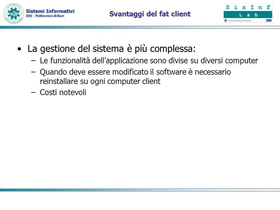 Sistemi Informativi DEE - Politecnico di Bari Svantaggi del fat client La gestione del sistema è più complessa: –Le funzionalità dellapplicazione sono