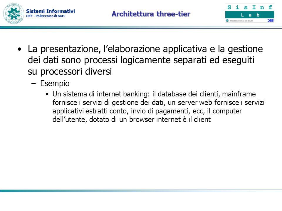 Sistemi Informativi DEE - Politecnico di Bari Architettura three-tier La presentazione, lelaborazione applicativa e la gestione dei dati sono processi