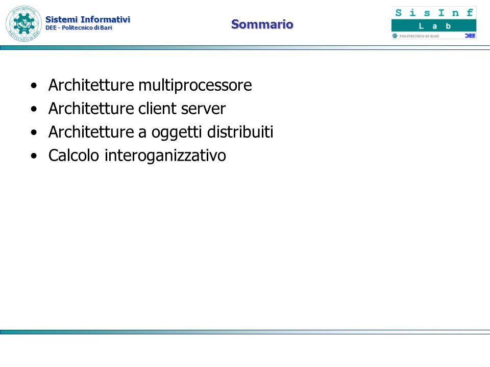 Sistemi Informativi DEE - Politecnico di Bari Sommario Architetture multiprocessore Architetture client server Architetture a oggetti distribuiti Calc