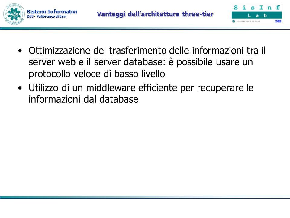 Sistemi Informativi DEE - Politecnico di Bari Vantaggi dellarchitettura three-tier Ottimizzazione del trasferimento delle informazioni tra il server w
