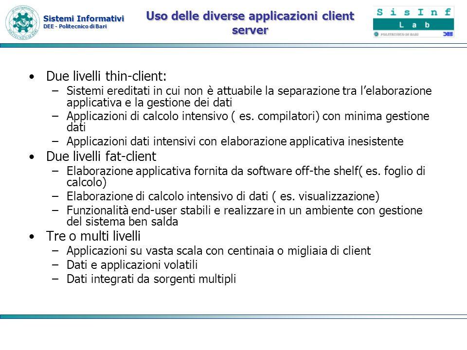 Sistemi Informativi DEE - Politecnico di Bari Uso delle diverse applicazioni client server Due livelli thin-client: –Sistemi ereditati in cui non è at