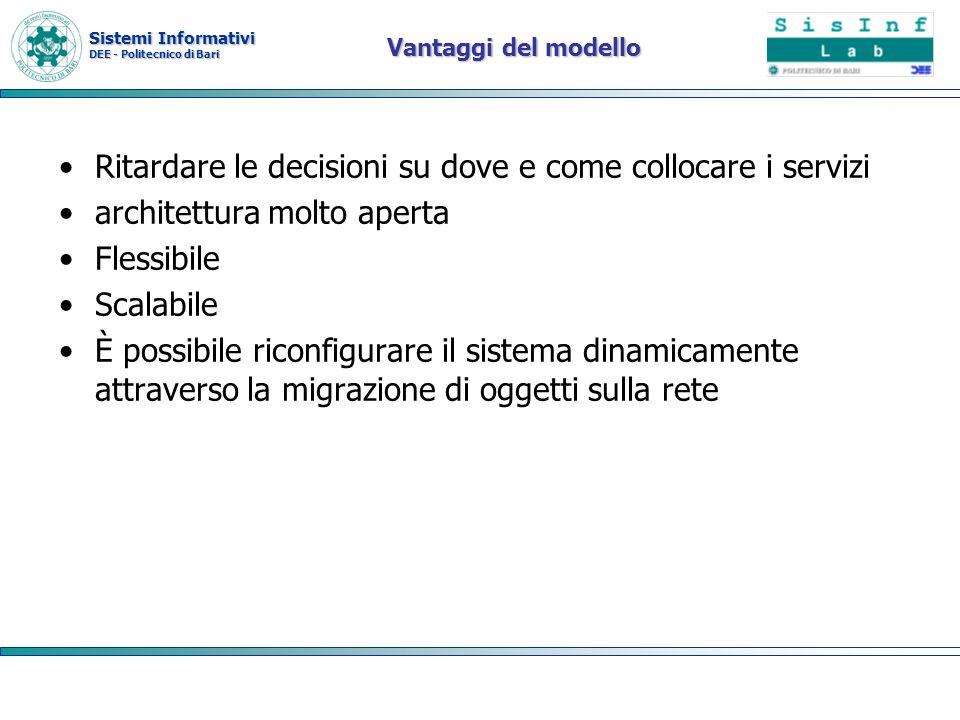 Sistemi Informativi DEE - Politecnico di Bari Vantaggi del modello Ritardare le decisioni su dove e come collocare i servizi architettura molto aperta