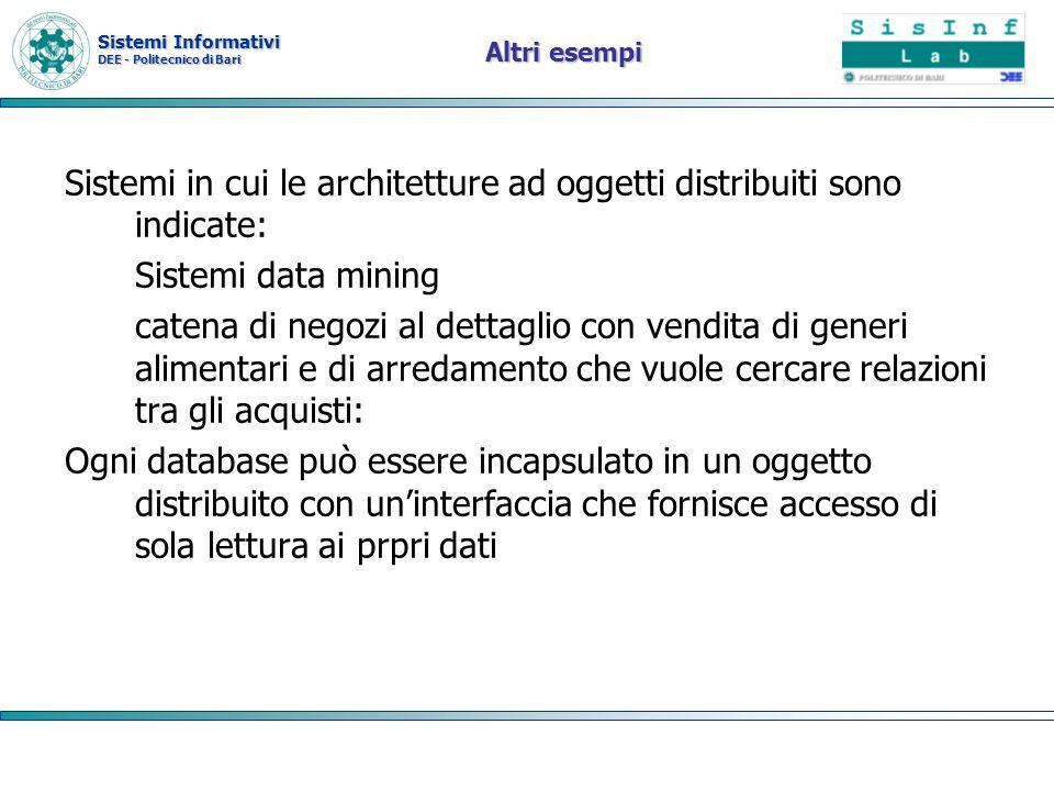 Sistemi Informativi DEE - Politecnico di Bari Altri esempi Sistemi in cui le architetture ad oggetti distribuiti sono indicate: Sistemi data mining ca
