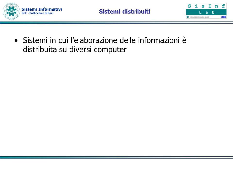 Sistemi Informativi DEE - Politecnico di Bari Vantaggi Condivisione delle risorse Apertura Simultaneità Scalabilità Fault tolerance