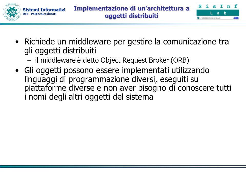 Sistemi Informativi DEE - Politecnico di Bari Implementazione di unarchitettura a oggetti distribuiti Richiede un middleware per gestire la comunicazi