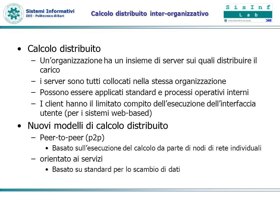 Sistemi Informativi DEE - Politecnico di Bari Calcolo distribuito inter-organizzativo Calcolo distribuito –Unorganizzazione ha un insieme di server su