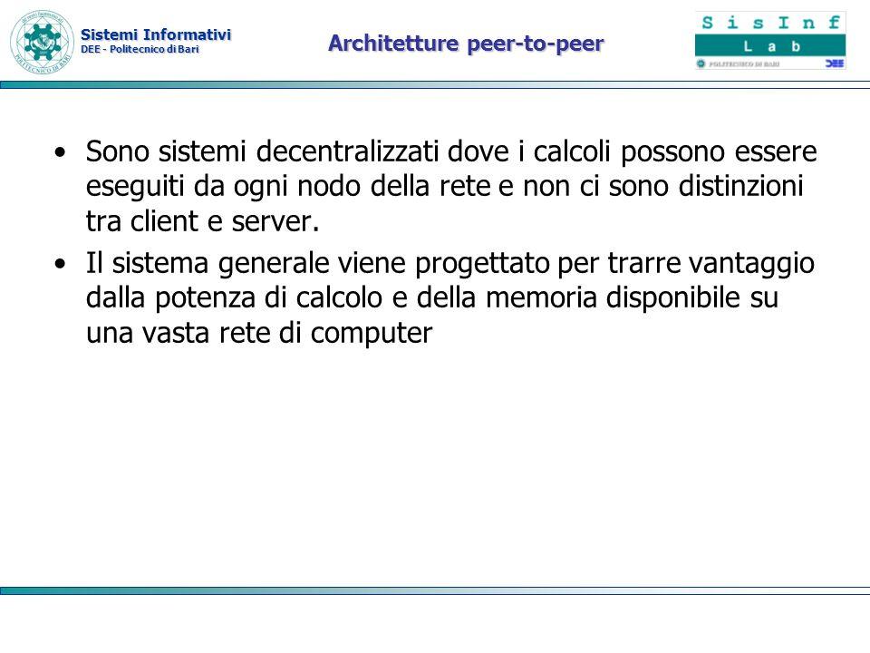 Sistemi Informativi DEE - Politecnico di Bari Architetture peer-to-peer Sono sistemi decentralizzati dove i calcoli possono essere eseguiti da ogni no