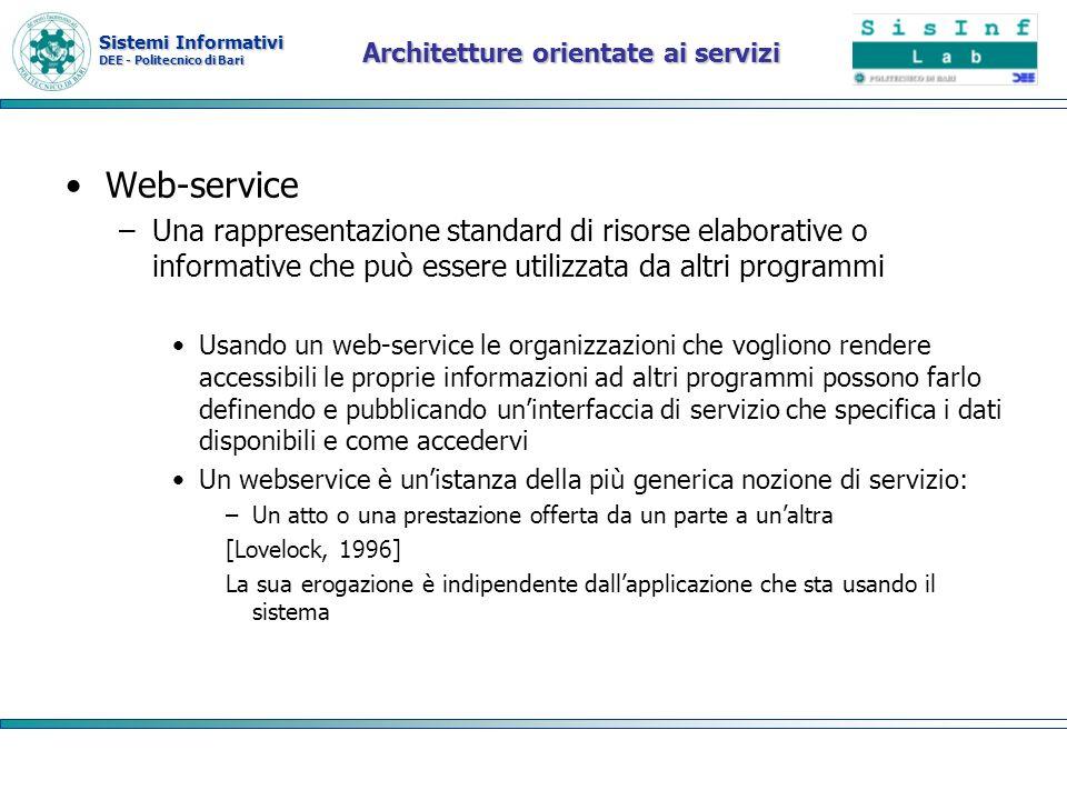 Sistemi Informativi DEE - Politecnico di Bari Architetture orientate ai servizi Web-service –Una rappresentazione standard di risorse elaborative o in