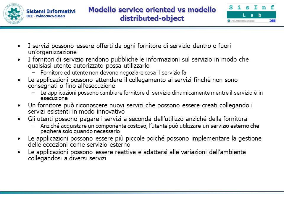 Sistemi Informativi DEE - Politecnico di Bari Modello service oriented vs modello distributed-object I servizi possono essere offerti da ogni fornitor