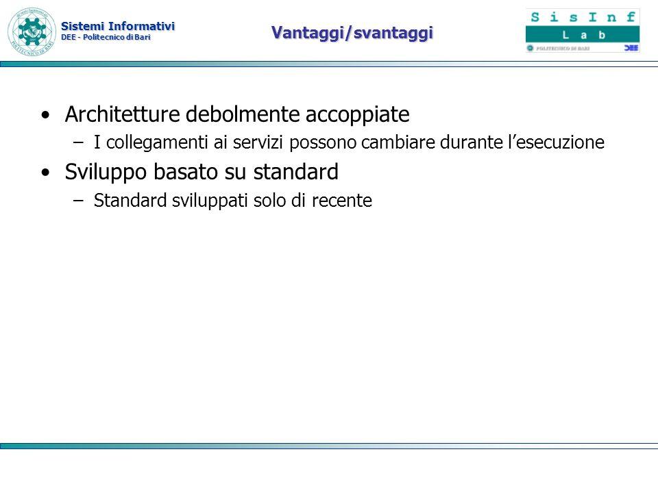 Sistemi Informativi DEE - Politecnico di Bari Vantaggi/svantaggi Architetture debolmente accoppiate –I collegamenti ai servizi possono cambiare durant