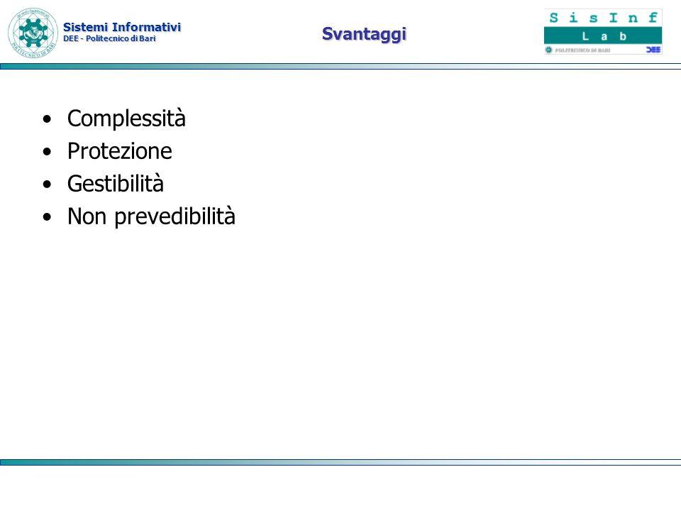 Sistemi Informativi DEE - Politecnico di Bari Svantaggi Complessità Protezione Gestibilità Non prevedibilità