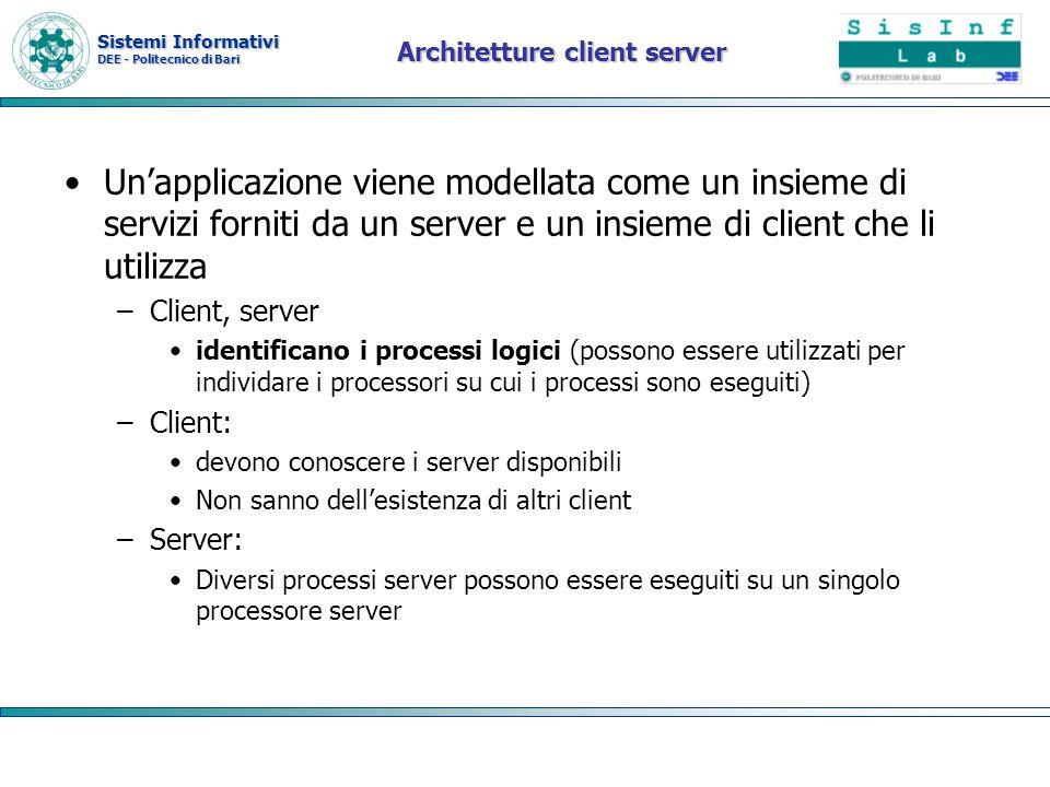 Sistemi Informativi DEE - Politecnico di Bari Architetture client server Unapplicazione viene modellata come un insieme di servizi forniti da un serve