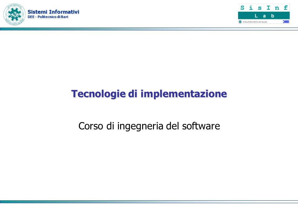 Sistemi Informativi DEE - Politecnico di Bari Component model /service model I modelli a componenti definiscono le modalità in cui le componenti interagiscono e secondo cui possono essere individuate ed esaminate a livello di programmazione I web service definiscono un meccanismo analogo per il discovery di metadati funzionali