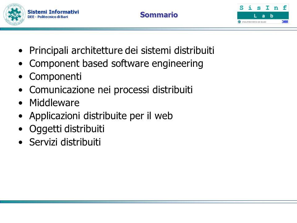 Sistemi Informativi DEE - Politecnico di Bari Modelli di componenti È la definizione degli standard per limplementazione, la documentazione e la consegna del componente Sono disponibili molti modelli di componenti, i più noti: –OMG Corba: http://www.corba.orghttp://www.corba.org –Microsoft.NET http://www.msdnhttp://www.msdn –Sun Enterprise Java beans http://java.sun.com/products