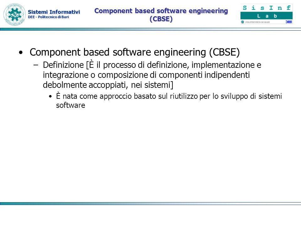 Sistemi Informativi DEE - Politecnico di Bari Elementi fondamentali Componenti indipendenti Standard dei componenti Middleware Un processo di sviluppo