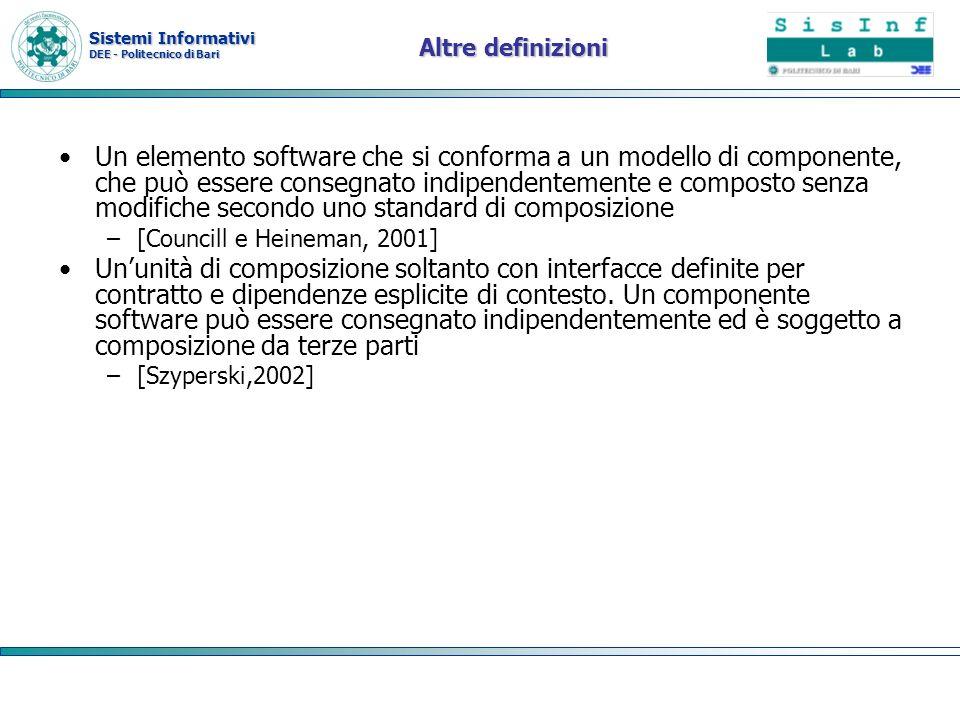 Sistemi Informativi DEE - Politecnico di Bari Cenni storici Il concetto di web service risale agli anni 1990 introdotta da sun con la campagna le rete è il computer Lidea è quella di risolvere i problemi di business distribuendo la soluzione a problemi discreti a componenti specializzate distribuite sulla rete