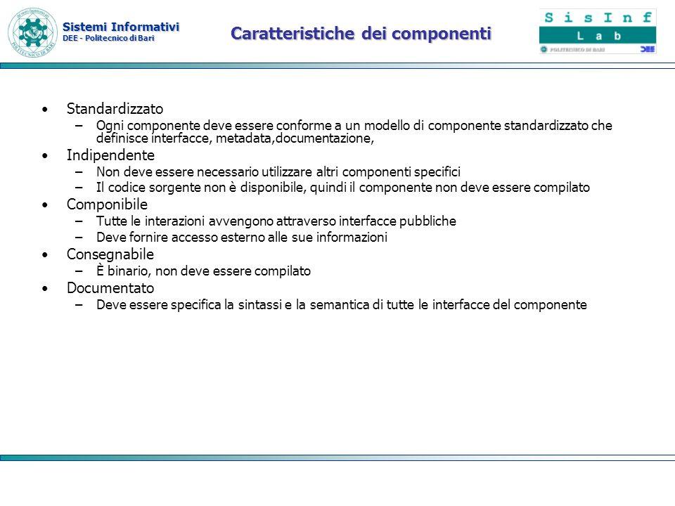 Sistemi Informativi DEE - Politecnico di Bari Architettura java EE La piattaforma Java EE è una piattaforma a componenti che si basa su unarchitettura n-Tier –il sistema è fortemente modulare ed espandibile.
