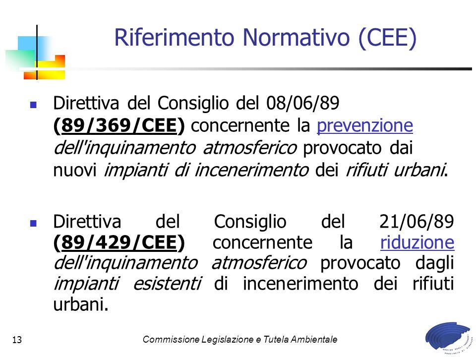 Commissione Legislazione e Tutela Ambientale13 Direttiva del Consiglio del 08/06/89 (89/369/CEE) concernente la prevenzione dell inquinamento atmosferico provocato dai nuovi impianti di incenerimento dei rifiuti urbani.