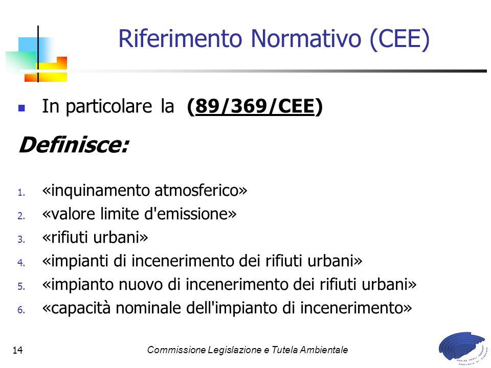 Commissione Legislazione e Tutela Ambientale14 In particolare la (89/369/CEE) Definisce: 1. «inquinamento atmosferico» 2. «valore limite d'emissione»