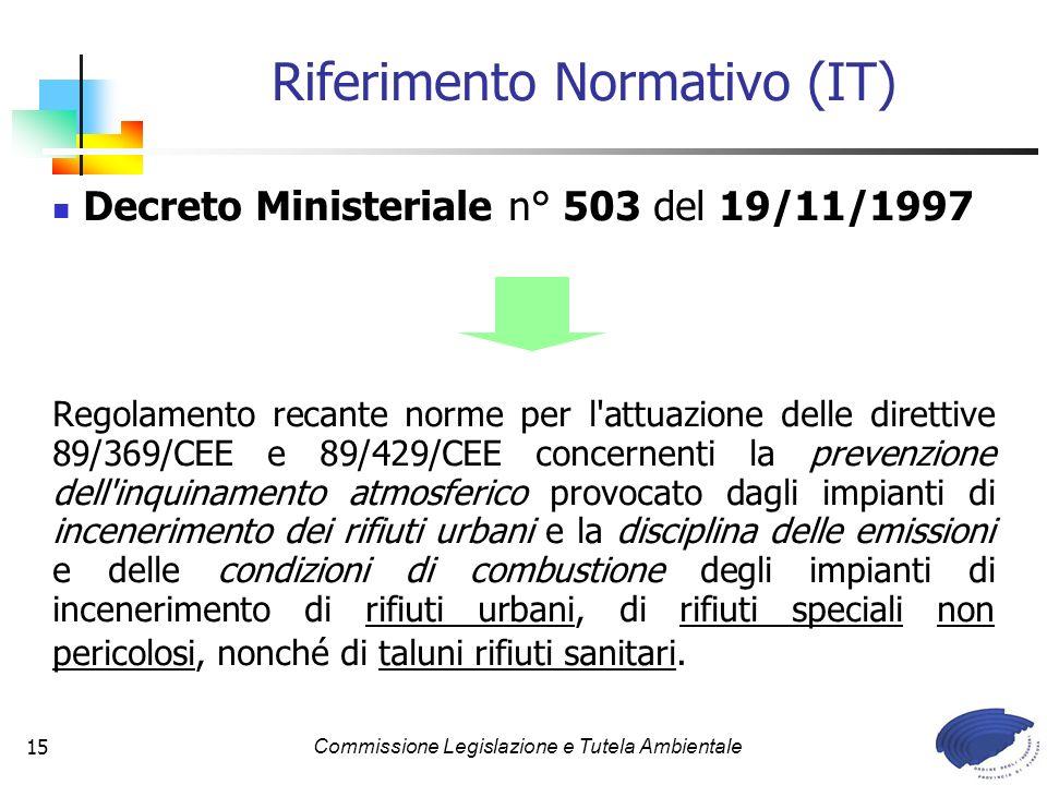 Commissione Legislazione e Tutela Ambientale15 Decreto Ministeriale n° 503 del 19/11/1997 Regolamento recante norme per l'attuazione delle direttive 8