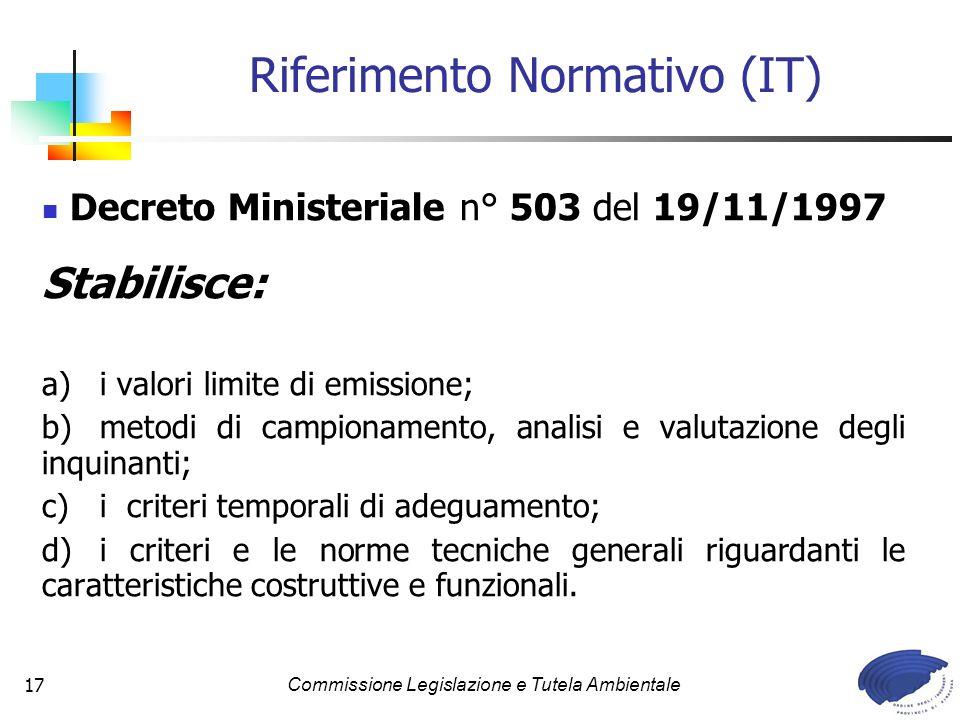 Commissione Legislazione e Tutela Ambientale17 Decreto Ministeriale n° 503 del 19/11/1997 Stabilisce: a) i valori limite di emissione; b)metodi di cam