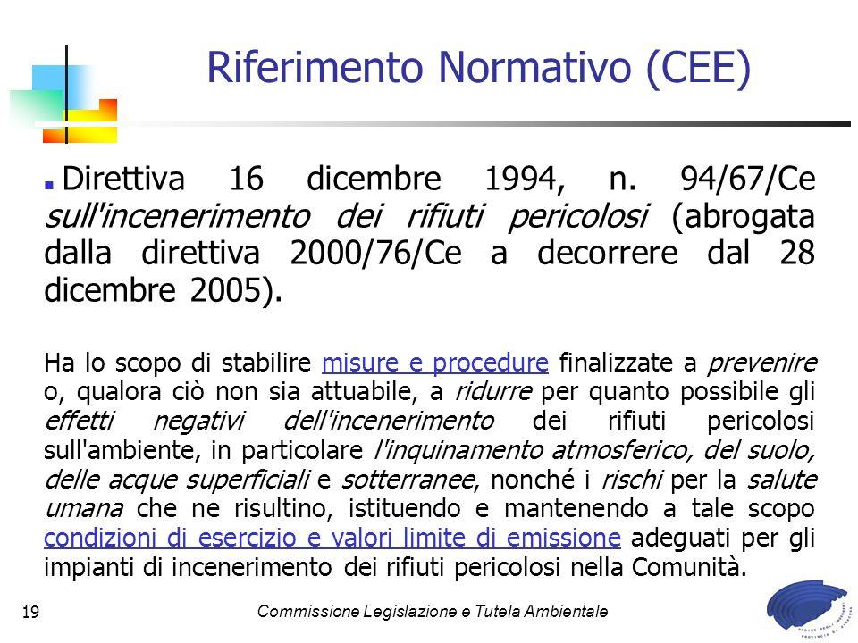 Commissione Legislazione e Tutela Ambientale19 Direttiva 16 dicembre 1994, n. 94/67/Ce sull'incenerimento dei rifiuti pericolosi (abrogata dalla diret