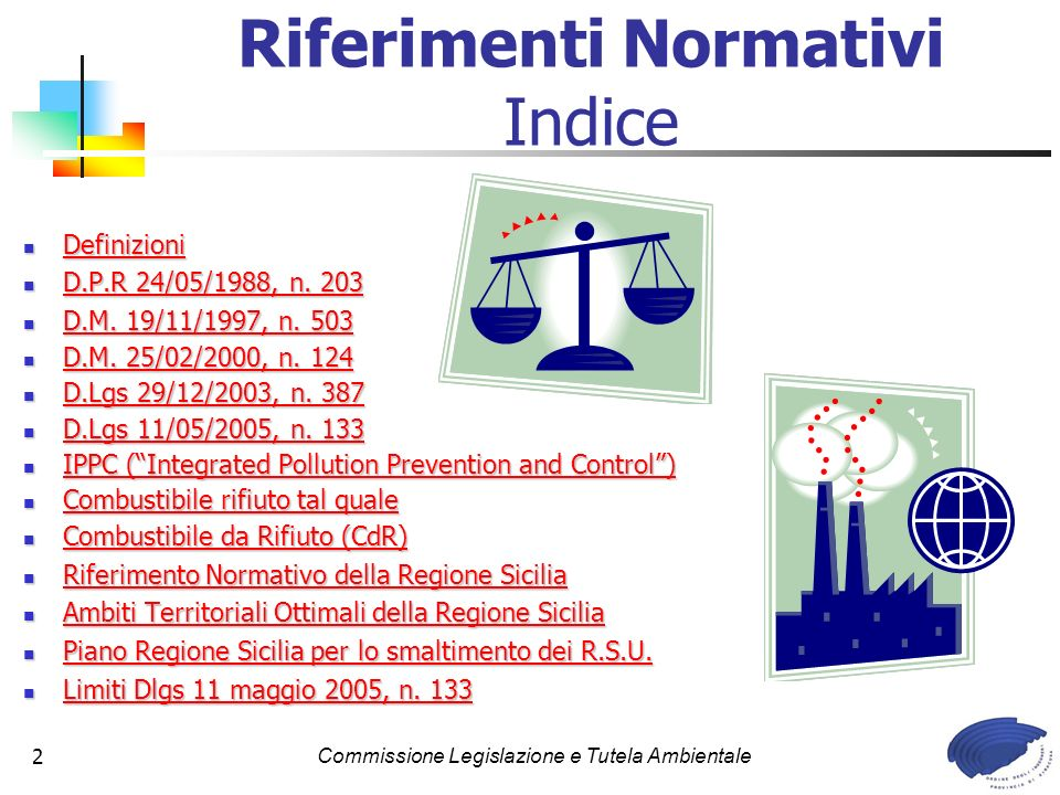 Commissione Legislazione e Tutela Ambientale2 Riferimenti Normativi Indice Definizioni Definizioni Definizioni D.P.R 24/05/1988, n. 203 D.P.R 24/05/19