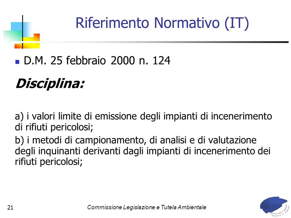 Commissione Legislazione e Tutela Ambientale21 D.M. 25 febbraio 2000 n. 124 Disciplina: a) i valori limite di emissione degli impianti di inceneriment