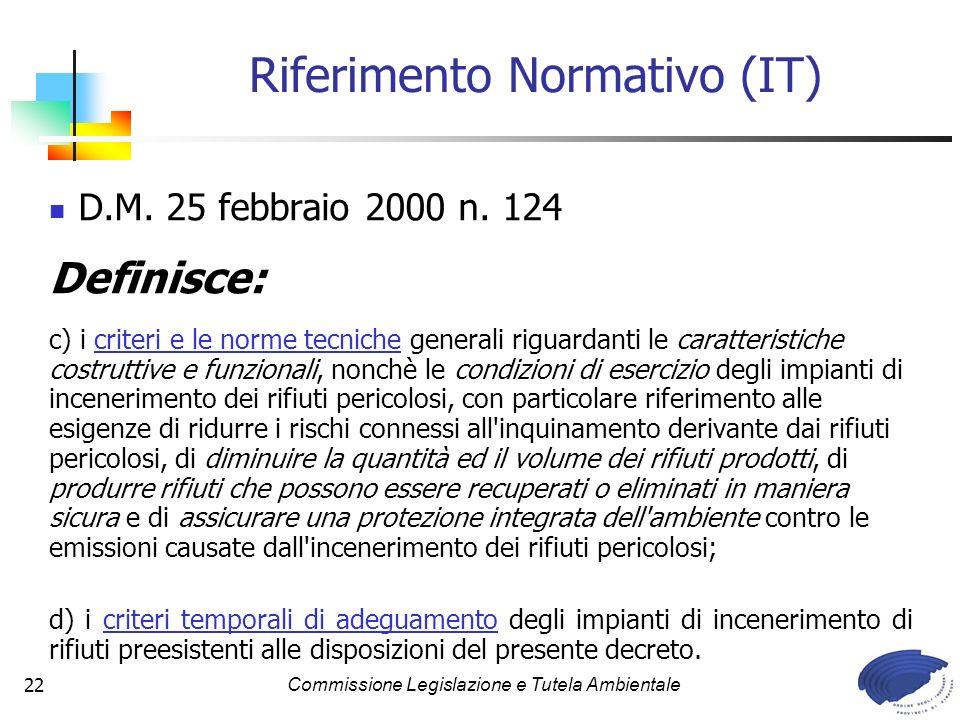 Commissione Legislazione e Tutela Ambientale22 D.M. 25 febbraio 2000 n. 124 Definisce: c) i criteri e le norme tecniche generali riguardanti le caratt
