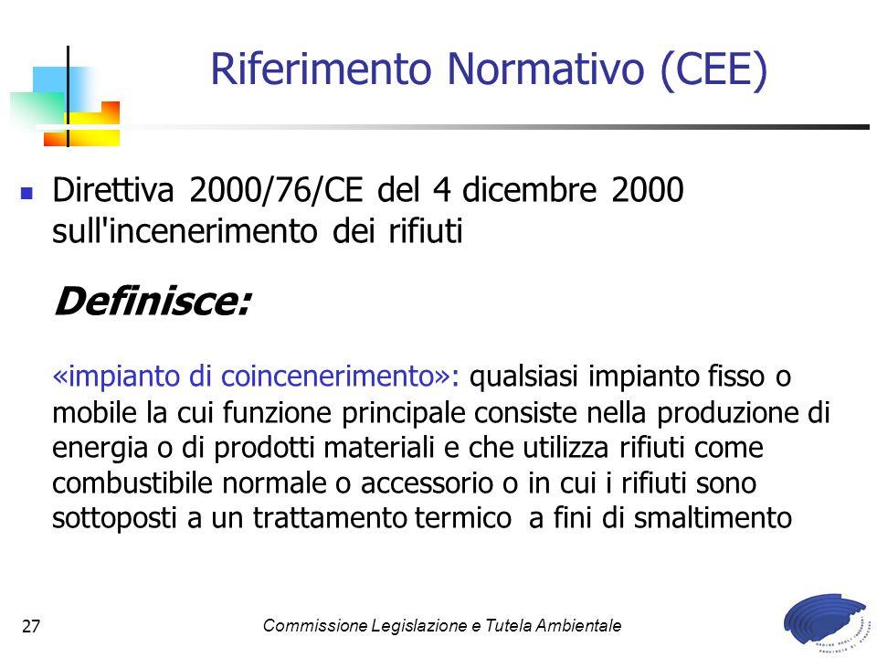 Commissione Legislazione e Tutela Ambientale27 Direttiva 2000/76/CE del 4 dicembre 2000 sull'incenerimento dei rifiuti Definisce: «impianto di coincen