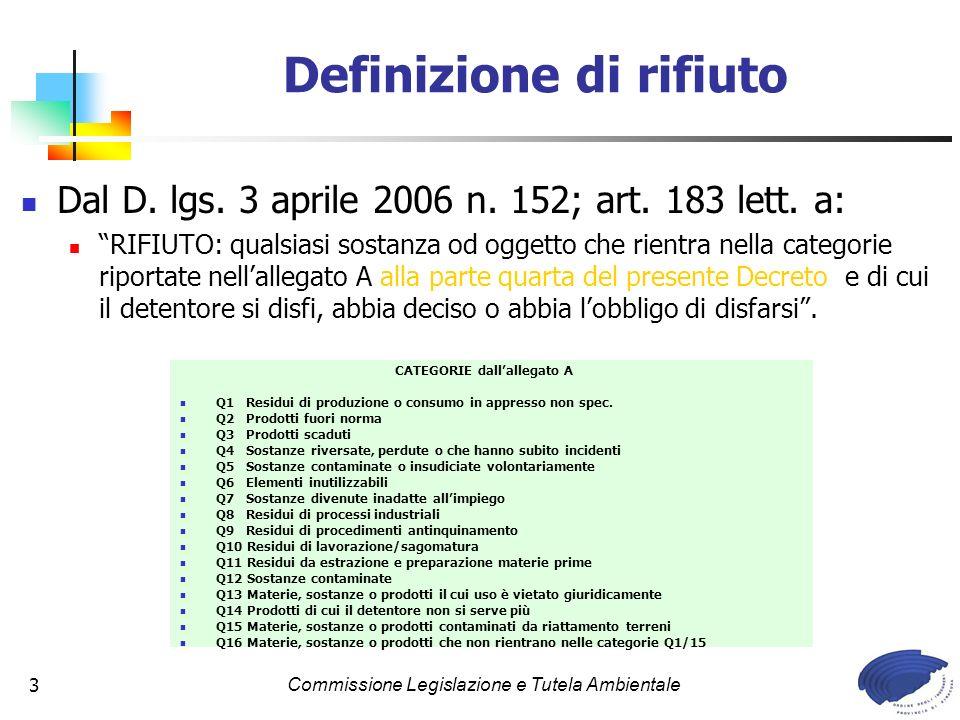 Commissione Legislazione e Tutela Ambientale3 Definizione di rifiuto Dal D. lgs. 3 aprile 2006 n. 152; art. 183 lett. a: RIFIUTO: qualsiasi sostanza o