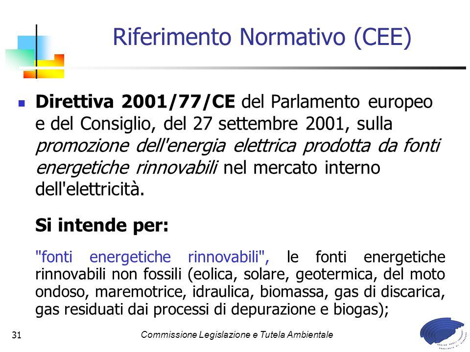 Commissione Legislazione e Tutela Ambientale31 Direttiva 2001/77/CE del Parlamento europeo e del Consiglio, del 27 settembre 2001, sulla promozione dell energia elettrica prodotta da fonti energetiche rinnovabili nel mercato interno dell elettricità.